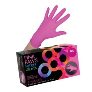 FRAMAR LARGE PINK PAWS NITRILE GLOVE 100/BOX