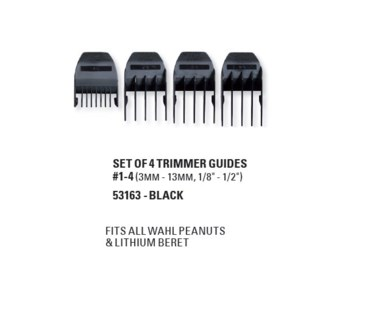 WAHL SET OF 4 BLACK TRIMMER GUIDES (PEANUTS, BERET & NEO)