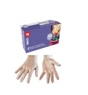 WIPECO DISPOSABLE CLEAR VINYL GLOVES - MEDIUM
