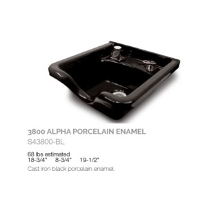 BE 3800 ALPHA PORCELAIN ENAMEL SHAMPOO BOWL