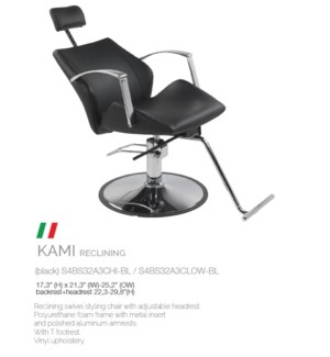 BE KAMI (HIGH BLACK) RECLINING SWIVEL STYLING CHAIR