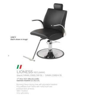 BE LIONESS RECLINING (HIGH GREY) SWIVEL STYLING CHAIR