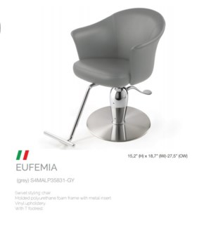 BE EUFEMIA GREY SWIVEL STYLING CHAIR