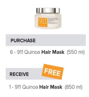 BIOTOP 911 QUINOA HAIR MASK 550ML 6 + BB NC
