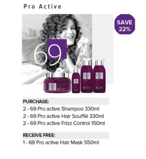 BIO 69 PRO ACTIVE PROMO 2+2+2 WITH NC HAIR MASK 550ml