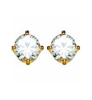 CR INV 5MM CUB ZIR EARRINGS/ PR 24KT PLATED