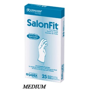DA SALONFIT LIGHTLY POWDERED VINYL GLOVES  25/BOX MEDIUM