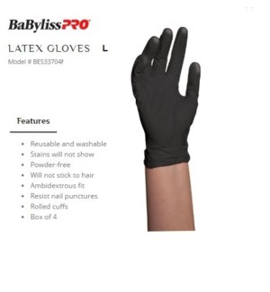 DA BP BLACK SATIN REUSABLE LATEX GLOVES LARGE 4/PCS