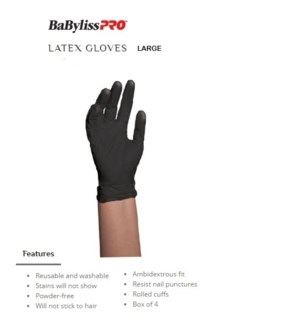 DA BP BLACK SATIN REUSABLE LATEX GLOVES LARGE 10/PCS