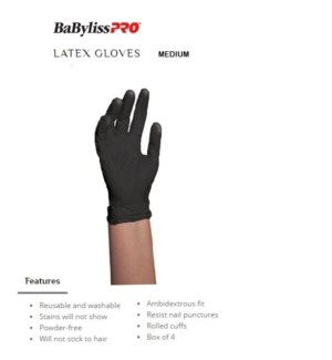 DA BP BLACK SATIN REUSABLE LATEX GLOVES MEDIUM 10/PCS