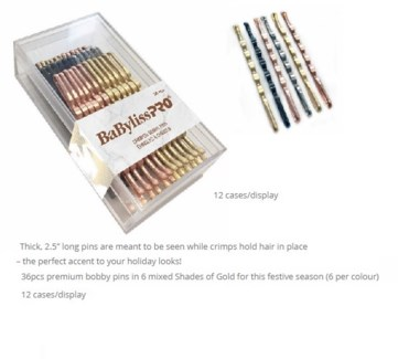TBD//DA BP CRIMPED BOBBY PINS - 12PC DSPLY -SHADES OF GOLD