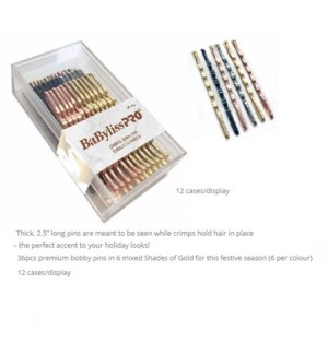 DISC//DA BP CRIMPED BOBBY PINS - 12PC DSPLY -SHADES OF GOLD