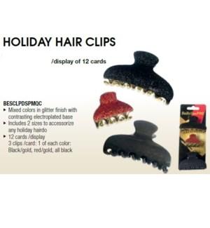 DA BA HOLIDAY HAIR CLIPS 12PC DISPLAY
