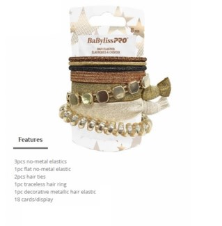 TBD//DA BP ASST HAIR ELASTICS - 18PC DISP-SHADES OF GOLD (L