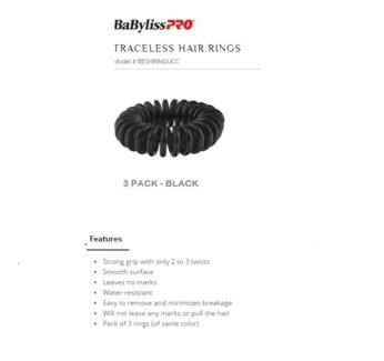 DA BP TRACELESS HAIR RINGS (SET OF 3) BLACK