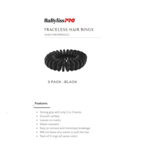 DA BP TRACELESS HAIR RINGS (SET OF 3) BLACK