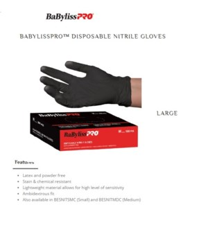 DA BAB PRO DISPOSABLE NITRILE GLOVES, LARGE. 100/BOX.
