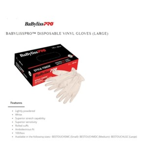 DA BP DISPOSABLE WHITE VINYL GLOVES LARGE 100/PCS