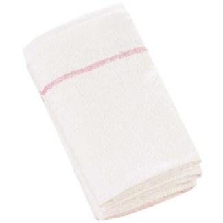 DA BP COTTON TOWELS DELUXE WHITE W/ CHERRY STRIPE 12/BAG