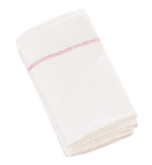 DA BP COTTON TOWELS DELUXE WHITE W/ CHERRY STRIPE 12/BAG