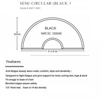 DA 3X5 SEMI-CIRCULAR BLACK MAT