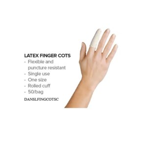 DA SILKLINE LATEX FINGER COTS 150/PK