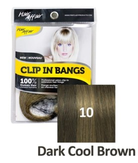 FIRST LADY HAIR AFFAIR CLIP IN BANGS #10 DARK COOL BROWN