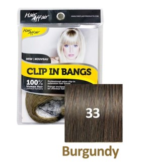 FIRST LADY HAIR AFFAIR CLIP IN BANGS #33 BURGUNDY