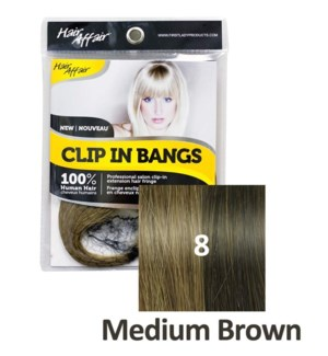 FIRST LADY HAIR AFFAIR CLIP IN BANGS #8 MEDIUM BROWN