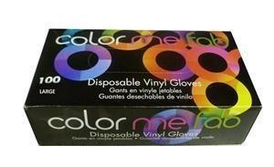 FRAM COLOR ME FAB DISPOSABLE VINYL GLOVES - LARGE/100 BOX