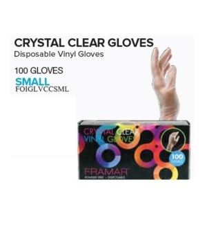 FRAMAR CRYSTAL CLEAR GLOVES - SMALL (100)