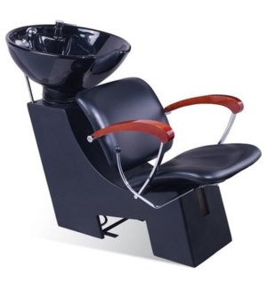 CM SERENA SHAMPOO UNIT (BLACK WITH WOODEN ARMS)