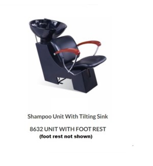 (17) SERENA SHAMPOO UNIT W/ FOOTREST - BLACK W/ WOODEN ARMS