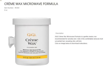 GIGI MICROWAVABLE CREME WAX 8OZ