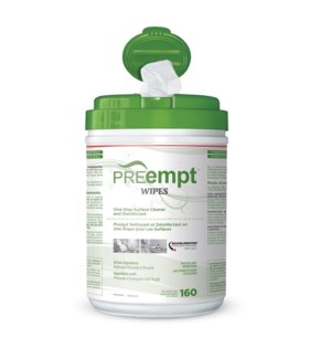 "KL PREempt  RTU WIPES 6"" X 7"" PREMOIST160 SHEETS"