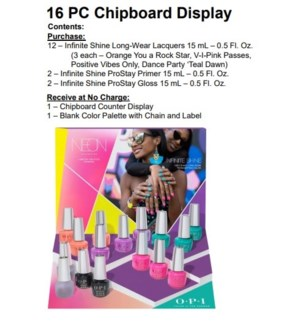OP IS NEONS BY OPI SUMMER 16PC CHIPBOARD DISPLAY/'19
