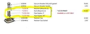 (18)TAKARA VACUUM BREAKER PARTS (WASHERS/NUTS/PIPE NIPPLES)