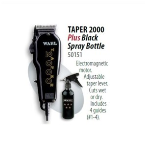WAHL TAPER 2000 BLACK + SPRAY BOTTLE