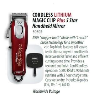 WAHL 5 STAR CORDLESS LITHIUM MAGIC CLIP W/ MIRROR