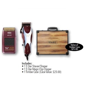 WAHL 5 STAR SHAVER/SHAPER & MAGIC CLIP COMBO W'CASE//MJ'19