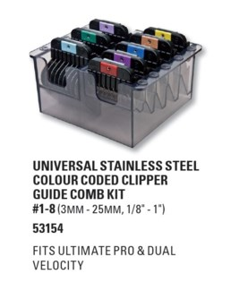 WAHL GUIDE KIT WITH 8 UNIVERSAL COLOR CODED GUIDES