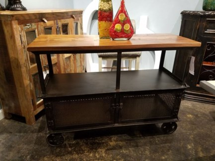 Wooden Industrial Metal Storage Cart