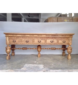 Amer Carved 5 Dwr Console Table