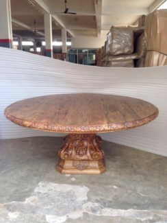 Amer Carved Round Dining Table 72""