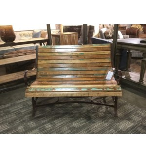 Reclaimed Wood Iron Garden Bench
