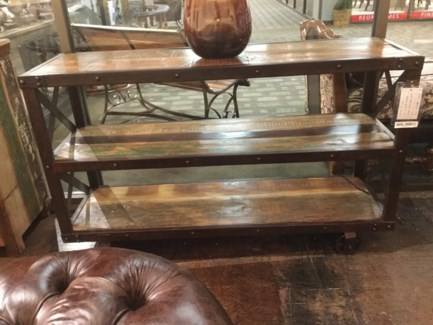 Reclaimed Wood Troly Console Table