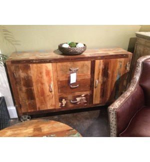 Reclaimed Wood 2 Door Sideboard w/ Wheels