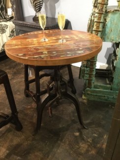 Reclaimed Wood Iron Pub Table