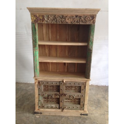 Reclaimed Wood Old Door Bookshelf W 2