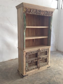 Reclaimed Wood Old Door Bookshelf w/ 2 Door